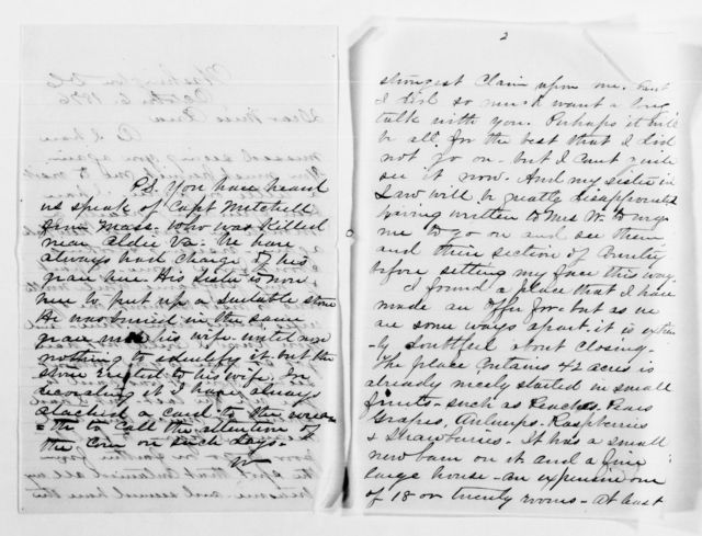 Clara Barton Papers: General Correspondence, 1838-1912; Westfall, J. W. and Alice R., 1868-1905, undated