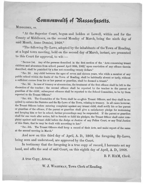"""Commonwealth of Massachusetts. Middlesex, ss. """"At the Superior Court, begun and holden at Lowell, within and for the County of Middlesex, on the second Monday of March, being the ninth day of said Month, Anno Domini, 1868."""" """"The following By-Law"""