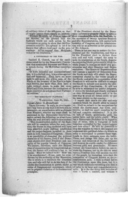 Elegant extracts from rebel writers. No. 1 Published by the Union Republican Congressional committee, Washington, D. C. [Washington, D. C. Printed at the Great Republic office. [1866].