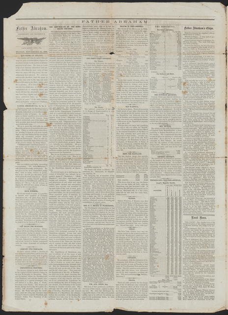 Father Abraham, [Newspaper] November 20, 1868.
