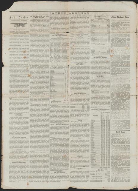 Father Abraham, [Newspaper] November 20, 1868.