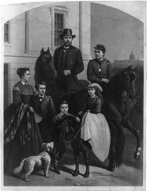 [General Grant & his family] / designed by Fred B. Schell ; engraved by Samuel Sartain.