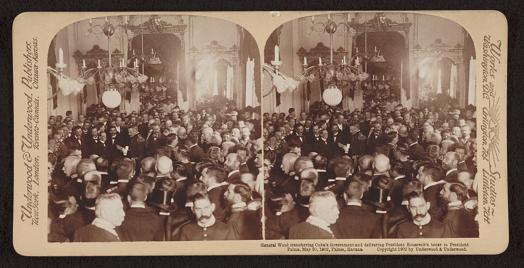General Wood transferring Cuba's government and delivering President Roosevelt's letter to President Palma, May 20, 1902, Palace, Havana