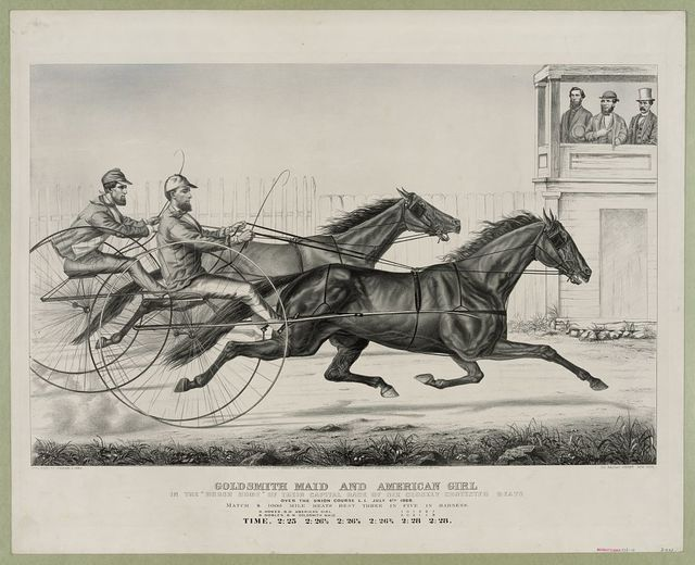 """Goldsmith Maid and American Girl: in the """"brush home"""" of their capital race of six closely contested heats over the Union Course L.I. July 4th 1868"""