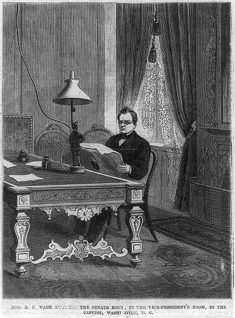 Hon. B.F. Wade awaiting the Senate Hour in the Vice President's Room in the Capitol, Washington, D.C.