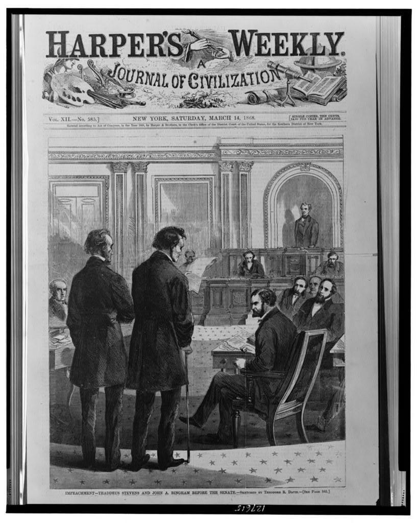 Impeachment - Thaddeus Stevens and John A. Bingham before the Senate / sketched by Theodore R. Davis.