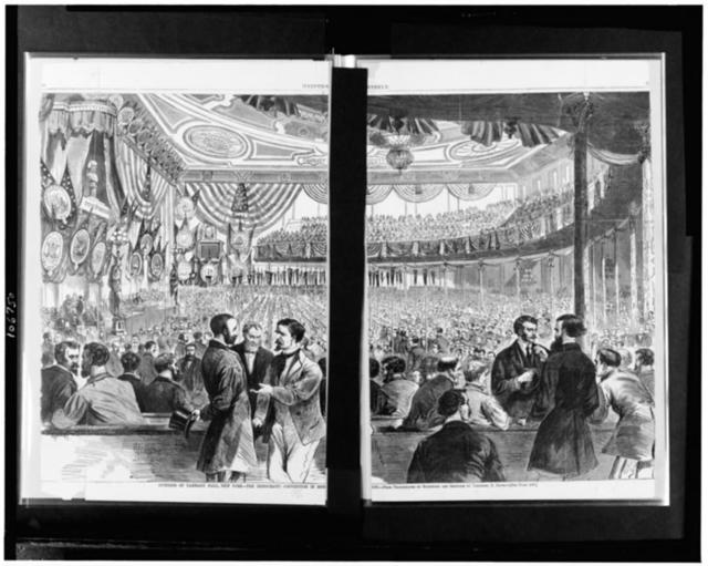 Interior of Tammany Hall, New York--the Democratic convention in session / From photographs by Rockwood and sketches by Theodore R. Davis.
