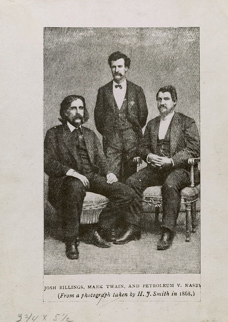 Josh Billings, Mark Twain, and Petroleum V. Nasby / From a photograph taken by H.J. Smith in 1868.