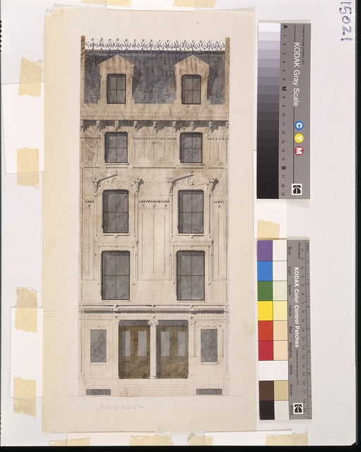 [J.Q.A. Ward houses, 7 and 9 West 49th Street, New York City. Elevation. Rendering]