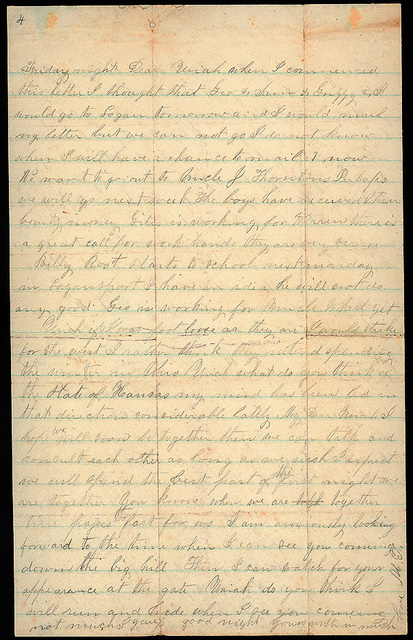Letter from Mattie V. Thomas to Uriah W. Oblinger, August 23-September 3, 1868