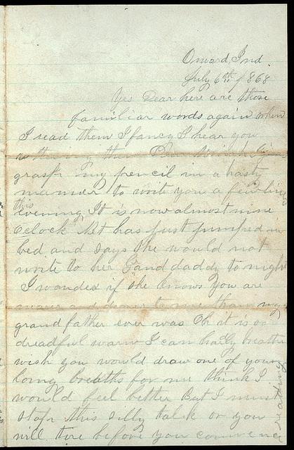 Letter from Mattie V. Thomas to Uriah W. Oblinger, July 6, 1868