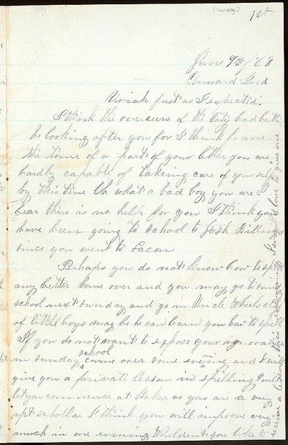 Letter from Mattie V. Thomas to Uriah W. Oblinger, June 7, 1868