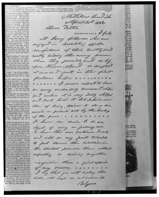[Letter from Ulysses S. Grant to his father, from Milliken's Bend, Louisiana, April 21, 1863]