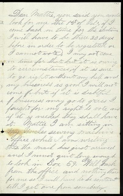 Letter from Uriah W. Oblinger to Mattie V. Thomas, August 27, 1868