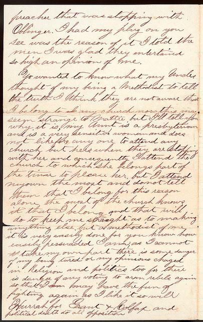 Letter from Uriah W. Oblinger to Mattie V. Thomas, June 28, 1868
