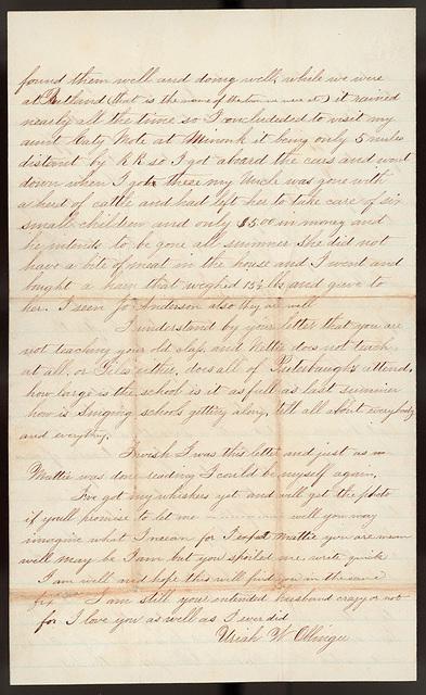 Letter from Uriah W. Oblinger to Mattie V. Thomas, May 19, 1868