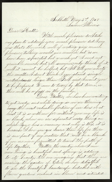 Letter from Uriah W. Oblinger to Mattie V. Thomas, May 3, 1868