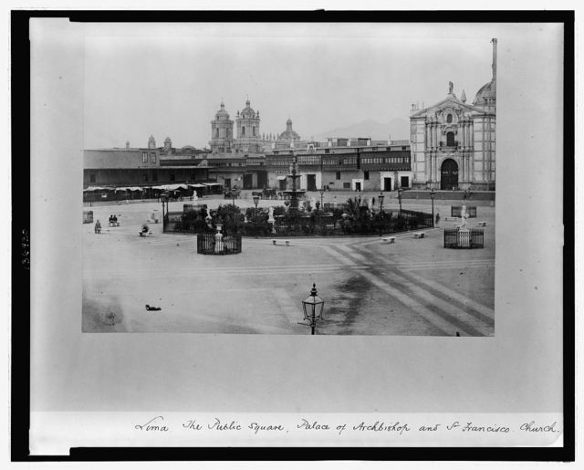 Lima. The public square, palace of Archbishop and San Francisco Church