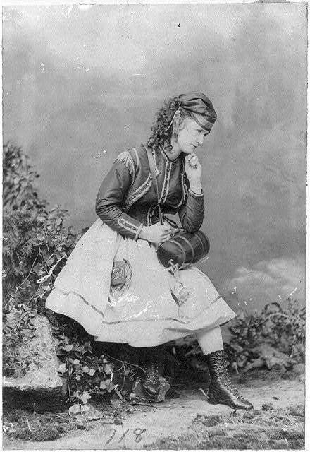 [Lotta Crabtree, full-length portrait, facing right, with small keg]