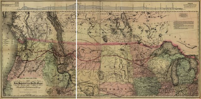 Map of the country from Lake Superior to the Pacific Ocean. From the latest explorations and surveys to accompany the report of the New York Chamber of Commerce, April 1868.