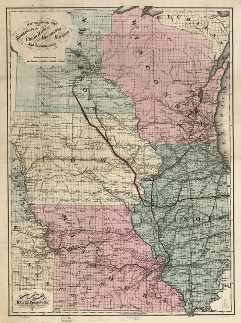 Map showing the Burlington Cedar Rapids and Minnesota Railway and its connections.