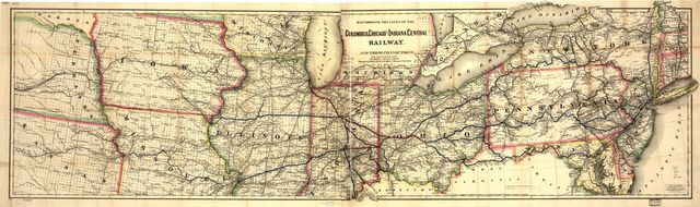 Map showing the lines of the Columbus, Chicago, and Indiana Central Railway, and their connections.