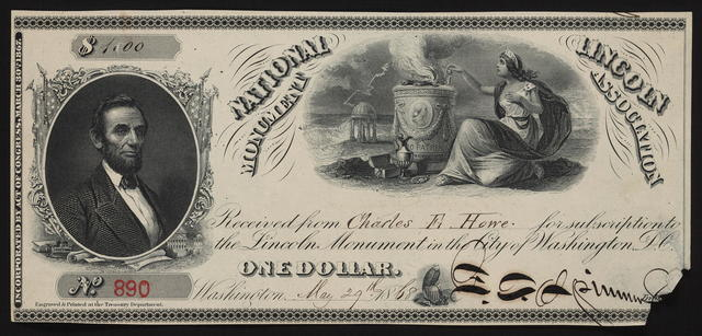 [National Lincoln Monument Association donation in the form of a dollar bill.]