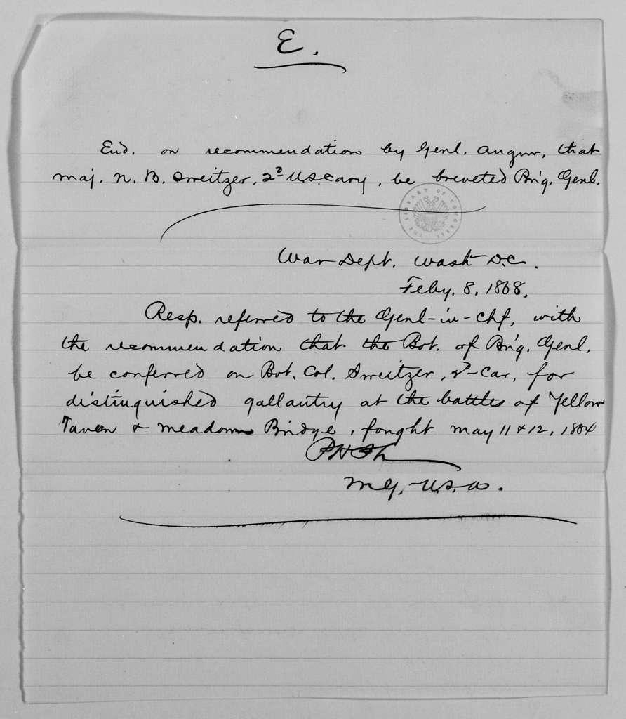 Philip Henry Sheridan Papers: General Correspondence, 1853-1888; 1868; Jan.-Feb