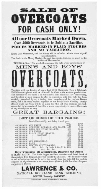 Sale of overcoats for cash only! All our overcoasts marked down ... Lawrence & Co. National Rockland Bank Building .... Boston. Propeller Press. 21 Cornhill [1868].