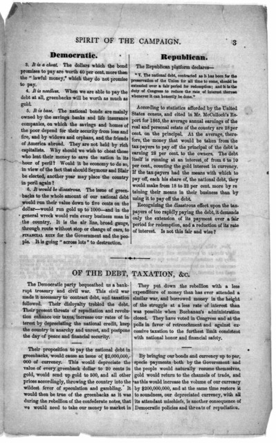Spirit of the campaign. Number two. The candidates, and the doctrines of the two parties. [Washington, D. C. 1868?].