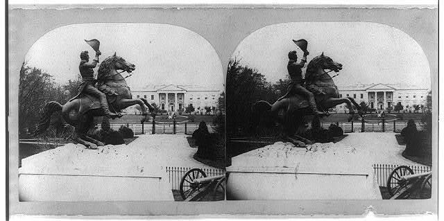 The colossal bronze equestrian statue of Gen. Andrew Jackson [in Lafayette Square, Washington, D.C.]