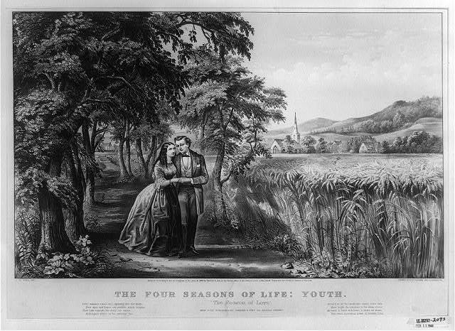 "The Four seasons of life: youth ""The season of love"" / / J.M. Ives, del. ; drawn by F.F. Palmer and J. Cameron."