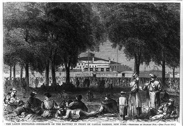"""The Labor Exchange - Emigrants on the Battery in front of Castle Garden. New York"""