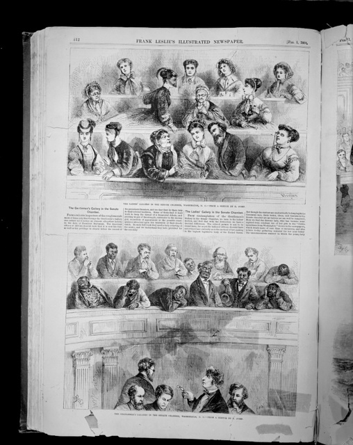 The ladies' gallery in the Senate chamber, Washington, D.C. The gentlemen's gallery in the Senate chamber, Washington, D.C. / / Bgms [or Brgms], from a sketch by E. Jump.