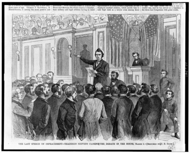 The Last speech on impeachment--Thaddeus Stevens closing the debate in the House, March 2 / sketched by T.R. Davis.
