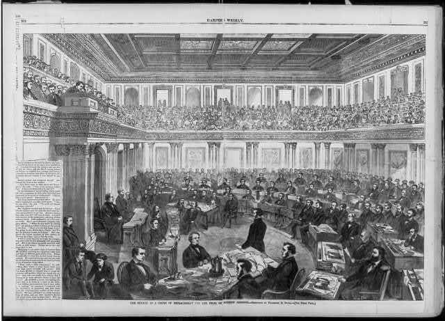 The Senate as a court of impeachment for the trial of Andrew Johnson / sketched by Theodore R. Davis.
