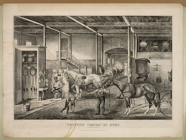 Trotting cracks at home, a model stable / sketched by Thos. Worth ; lith of Currier & Ives.
