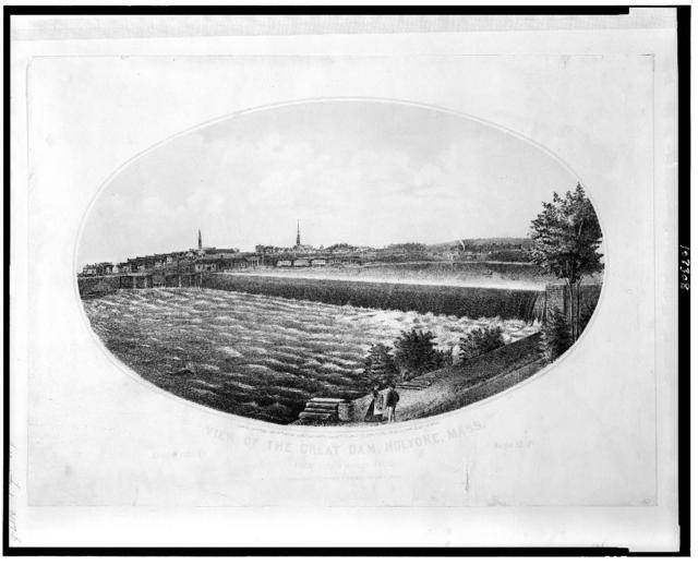 View of the great dam, Holyoke, Mass.  From South Hadley Falls / J. Bowker del.