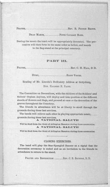 Washington, D. C., Wednesday, May 27th, 1868. You are cordially invited to attend the ceremonies of decorating the graves of the Union dead, on Saturday, 30th instant, at one o'clock, p. m., at the National Cemetery, Arlington. N. P. Chipman. Ch