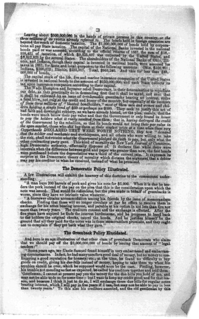 Who are the bondholders? Three million of government creditors. Democratic war on the poor. Their contempt for the peoples' rights. Washington, D. C. Printed at the Great Republic office [1868?].