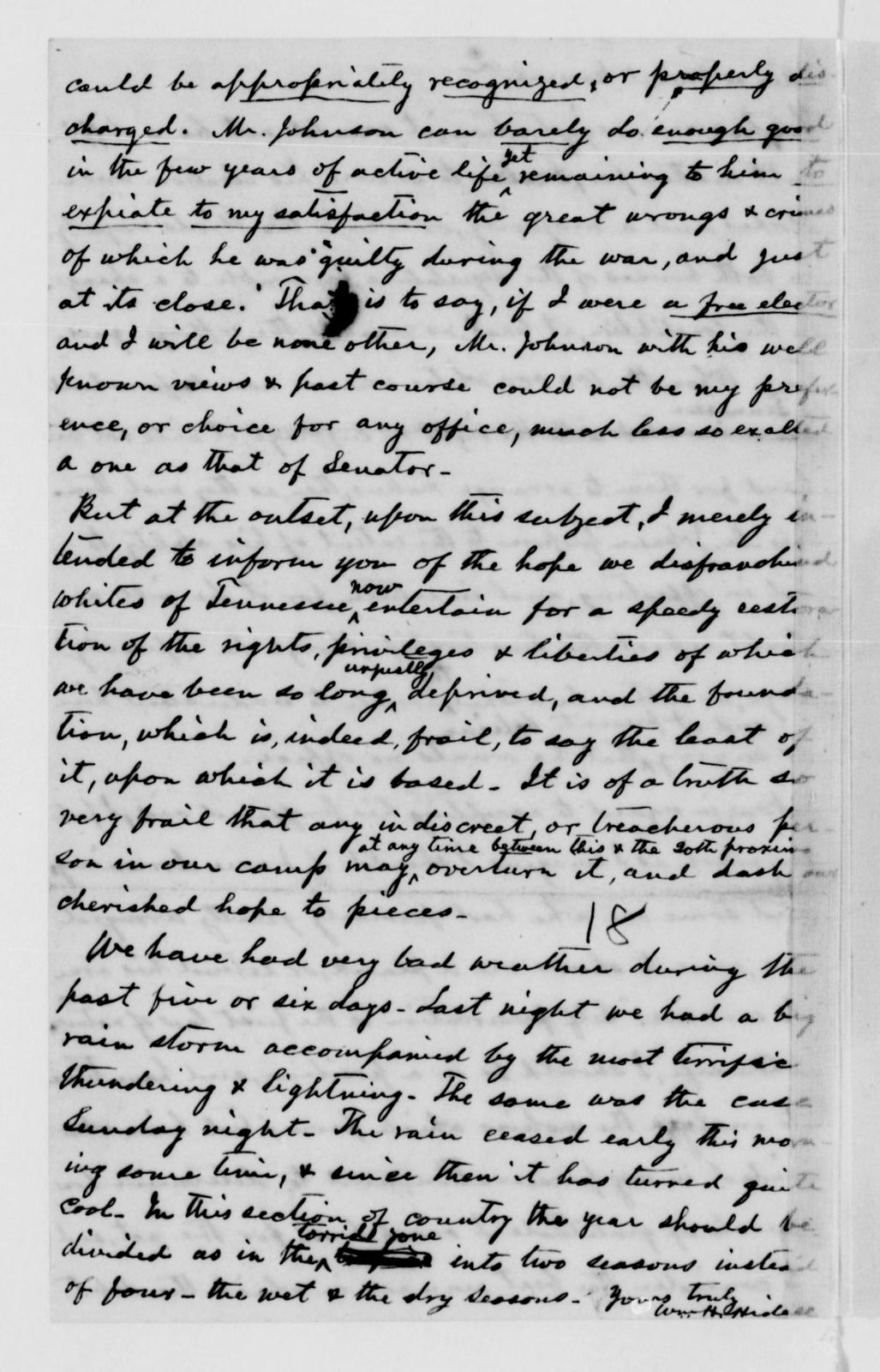 Alexander Hamilton Stephens Papers: General Correspondence, 1784-1886; 1869, Mar. 6-May 19