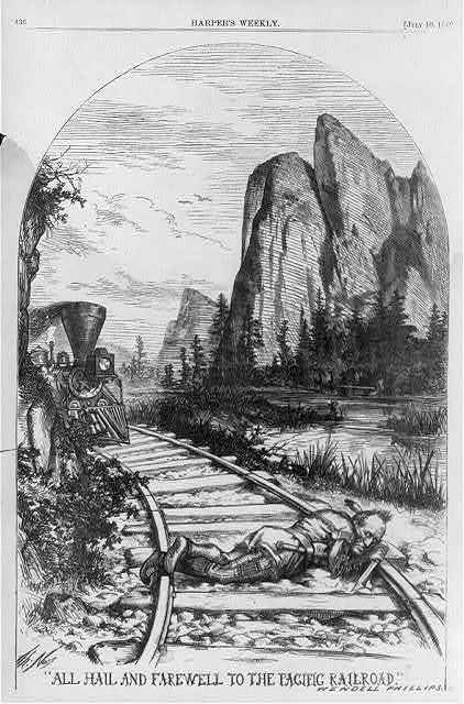 """All Hail and Farewell to the Pacific Railroad."" Wendell Phillips  [Indian with knife lying on track in path of oncoming locamotive, Rocky Mountains in background]"
