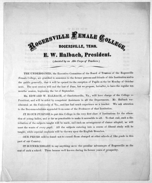 [Announcement of opening of Rogersville female college, Rogersville, Tenn. Sept. 15th, 1869.].