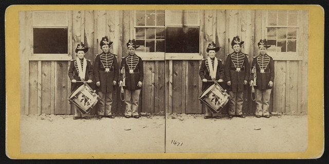 Anthony's stereoscopic views. No. 1471, Three drummer boys (now at Ft. Hamilton) who have been in 9 battles of the rebellion