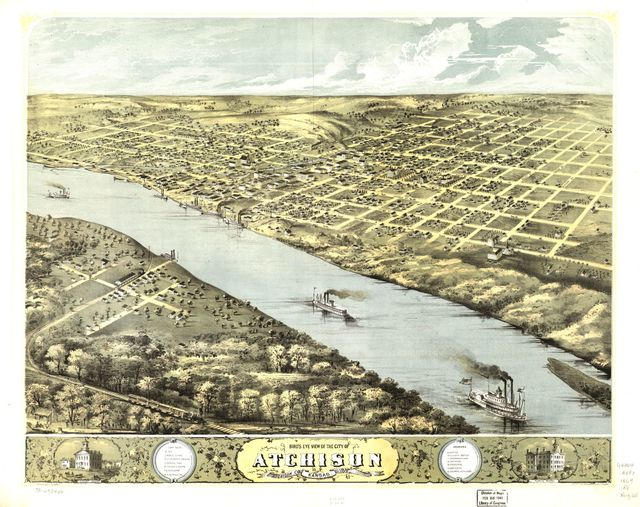 Bird's eye view of the city of Atchison, Atchison Co., Kansas 186[9]