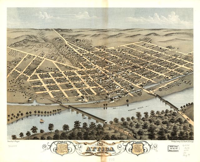 Bird's eye view of the city of Attica, Fountain County, Indiana 1869.