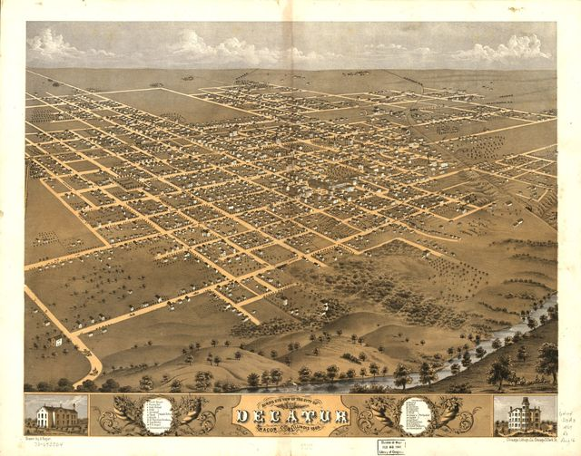 Bird's eye view of the city of Decatur, Macon Co., Illinois 1869.