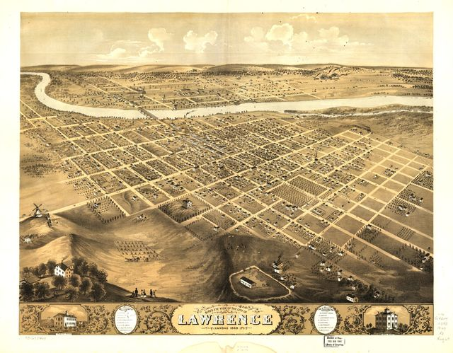 Bird's eye view of the city of Lawrence, Kansas 1869.