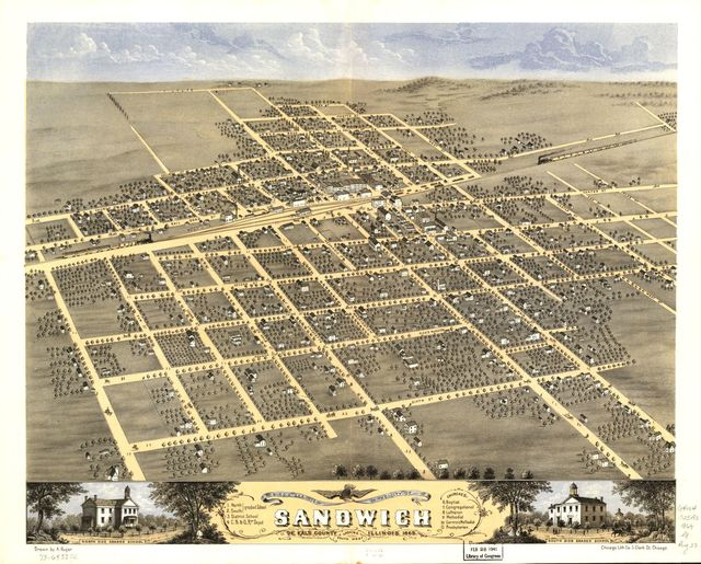 Bird's eye view of the city of Sandwich, De Kalb County, Illinois 1869.