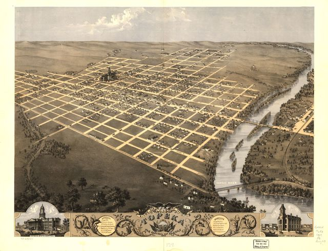 Bird's eye view of the city of Topeka, the capital of Kansas 1869.
